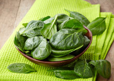 Fresh spinach leaves. Bowl of fresh spinach leaves on wooden background Royalty Free Stock Photo