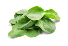Fresh spinach leaves. On white background Stock Photo