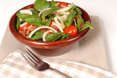 Fresh spinach salad in a brown wooden bowl Stock Images