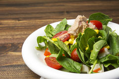 Fresh spinach salad with tuna and corn, small pieces of cherry tomatoes in white plate Royalty Free Stock Photos