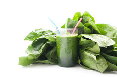 Fresh spinach smoothie. Spinach smoothie on white background Stock Photos