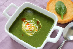 Fresh Spinach Soup. A freshly made bowl of spinach soup on a linen placemat Stock Image