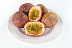 Fresh splited passion fruits Royalty Free Stock Image