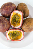 Fresh splited passion fruits Royalty Free Stock Images