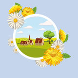 Fresh spring background with grass, dandelions and daisies. Card farm Landscape countryside spring flowers dandelions chamomiles cartoon style, isolated, vector Stock Images