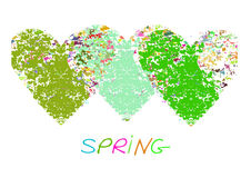 Fresh spring background with hearts and calligraphic inscription. Stock Photo