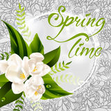 Fresh spring background with white flowers and Stock Photos