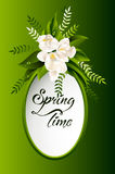 Fresh spring background with white flowers and Royalty Free Stock Photography