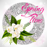 Fresh spring background with white flowers and Stock Image