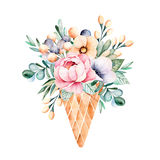 Fresh spring bouquet in waffle cone still life. Stock Images