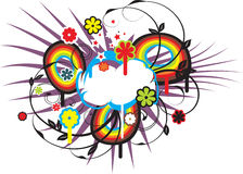 Fresh spring cloud vector. It is an extreme butterfly with clouds and rainbow Royalty Free Stock Images