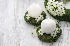 Fresh spring decorations for the First Communion Stock Images