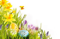 Fresh spring Easter card design with eggs royalty free stock image