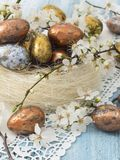 Easter eggs in spring decoration Royalty Free Stock Image