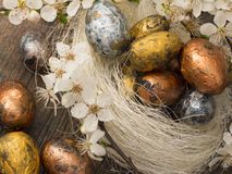 Easter eggs in spring decoration Stock Photo
