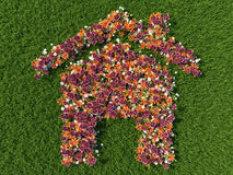 Fresh Spring flowers in the shape of a house on a field. Of lawn grass concept Royalty Free Stock Image