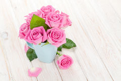 Fresh spring garden pink roses bouquet Stock Photography