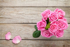 Fresh spring garden pink roses bouquet Royalty Free Stock Image