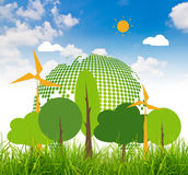 Fresh spring green grass with eco friendly earth Royalty Free Stock Images