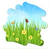 Fresh spring green grass leaves frame template stock illustration