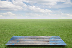 Fresh spring green grass  sky cloud,and wood floor background. Royalty Free Stock Photo
