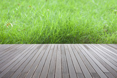 Fresh spring green grass  and wood floor Stock Photo