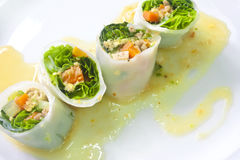 Fresh spring noodle rolls Stock Photo