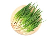 Fresh spring onion on platter. Royalty Free Stock Images