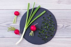Fresh spring onion and radish. Fresh green onion and red radish on slate board, top view. Delicious ingredients for spring salad Stock Image