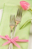 Spring Place Setting With Forks and Tulip Royalty Free Stock Photography