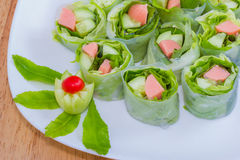Fresh Spring roll food with vegetable,sausage Stock Photos