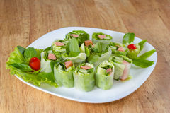Fresh Spring roll food with vegetable,sausage Royalty Free Stock Photos