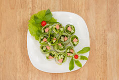 Fresh Spring roll food with vegetable,sausage Stock Image