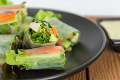 Fresh spring roll included green oak lettuce, carrot, cucumber a Stock Photo