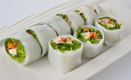 Fresh spring roll with pork Stock Images