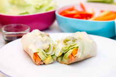 Fresh spring roll with vegetable filling on white plate. Against vibrant background of vegetables Stock Photos