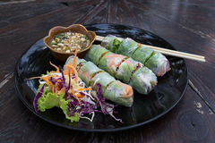 Fresh Spring Roll, Vietnamese Food. Stock Photo