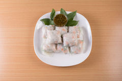 Fresh spring rolls with assorted vegetables Royalty Free Stock Image