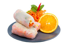 Fresh Spring Rolls in blue plate on white background Stock Photography