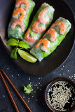 Fresh spring rolls with shrimps and vegetables Stock Image