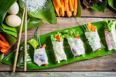 Fresh spring rolls with vegetables Stock Image