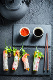 Fresh spring rolls with vegetables and rice noodles Stock Photography