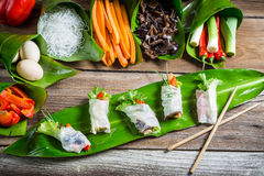 Fresh spring rolls with vegetables and rice noodles Royalty Free Stock Photography