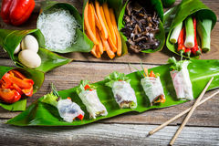 Fresh spring rolls with vegetables and rice noodles Stock Photo