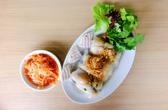 Fresh spring rolls with vermicelli and prawn Royalty Free Stock Image