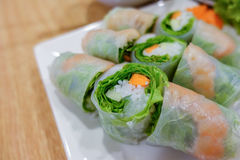 Fresh Spring Rolls,vietnamese with vegetable, close up shot Stock Photos