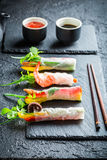 Fresh spring rolls wrapped in rice paper Royalty Free Stock Images