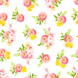 Fresh spring roses, ranunculus, orchid and herbs seamless vector stock illustration