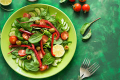 Fresh spring salad with arugula, spinach, beet leaves, tomatoes, cucumber slices and sweet pepper Stock Photography