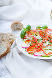 Fresh spring salad with cucumber, radish. And peppers Stock Photos